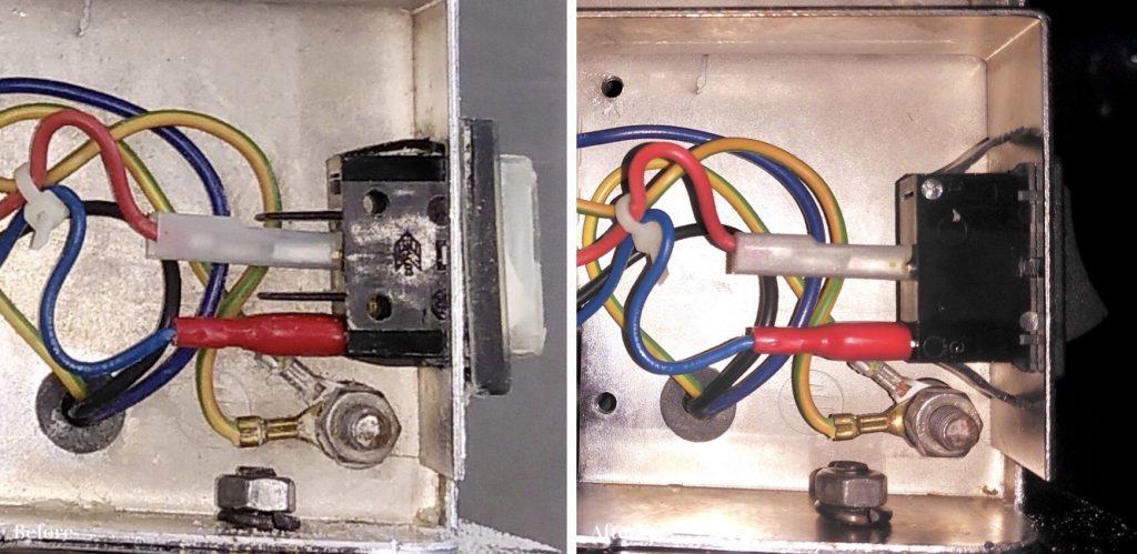 修理前・修理後のスイッチ内部の写真です。