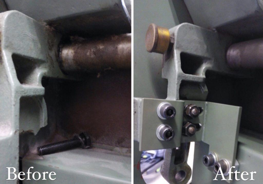 修理した部分のアップ写真を、修理前・修理後を左右に並べてあります。きれいに修理されていることが分かります。