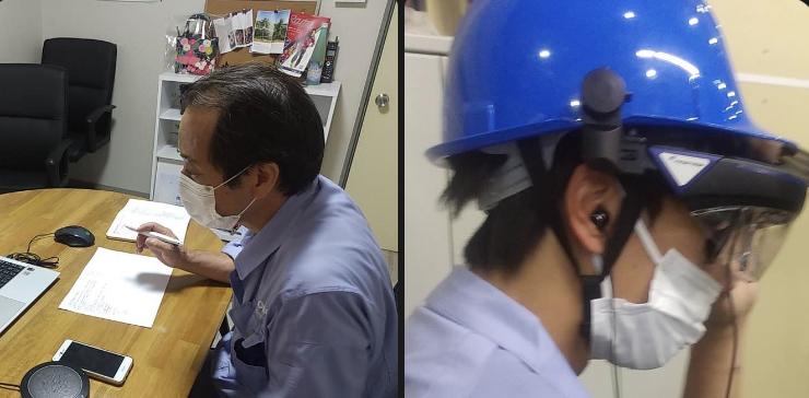 現地でスマートグラスをかけているスタッフと本社でその映像を確認しているベテランスタッフ